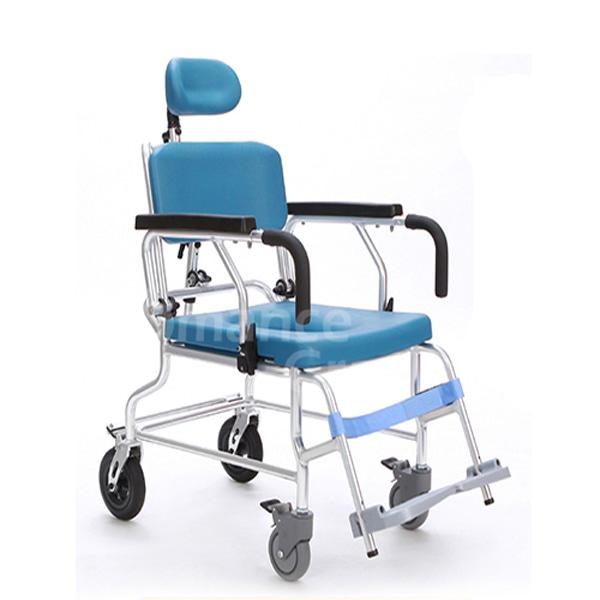 [미키코리아] MK-PT-3 목욕의자겸용 이동변기 (등받이각도조절/팔걸이젖혀짐) 휠체어형목욕의자 바퀴형목욕의자 환자용샤워의자
